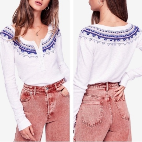 Free People Womens Fair Isle Thermal